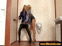 Blonde Babes Are Getting It On In A Bathroom And Use A Fake Cock