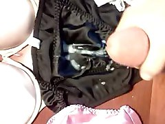 Huge load on satin panties