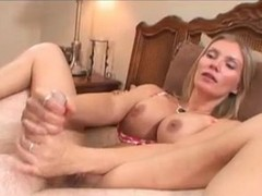 Blonde Teasing Talk While Jerking Cock