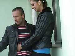 Real Hottie Gives Blowjob On Balcony