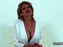 unfaithful english milf lady sonia showcases her heavy balloons