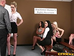 CFNM femdoms humiliating prick in group