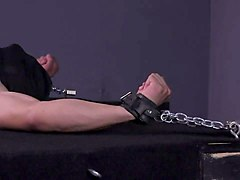 masked muscle stud tortured bdsm gay bondage electrocution