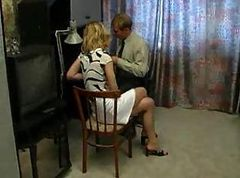 Russian blonde girl gets fucked