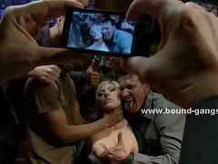 Busty Blonde In Club Undressed Tied And Force To Perform In Brutal Gangbang Sex