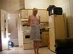 Crossdresser Dancing In Blue Nightie